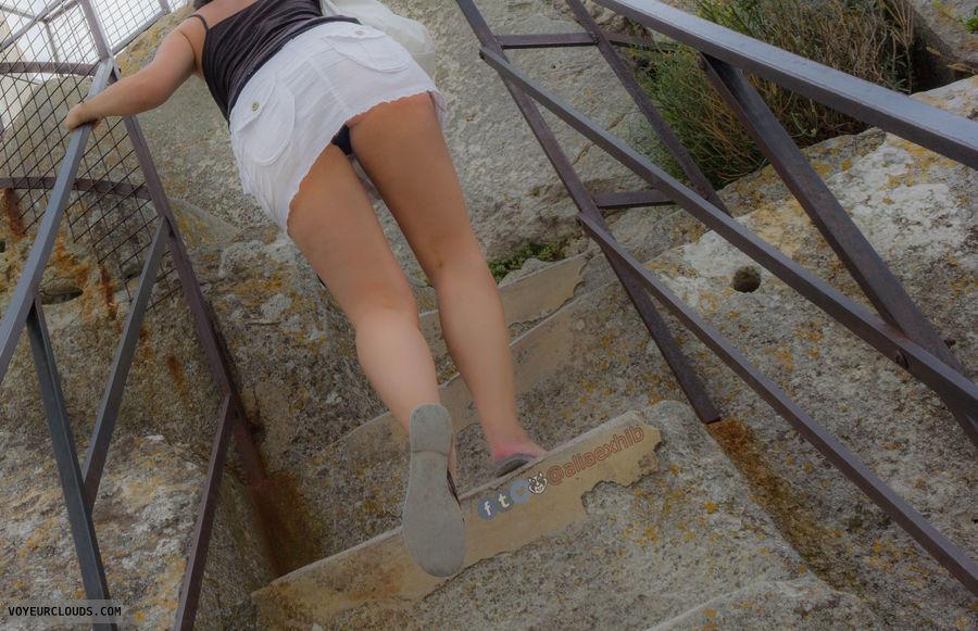 upskirt, panties, stairs, public