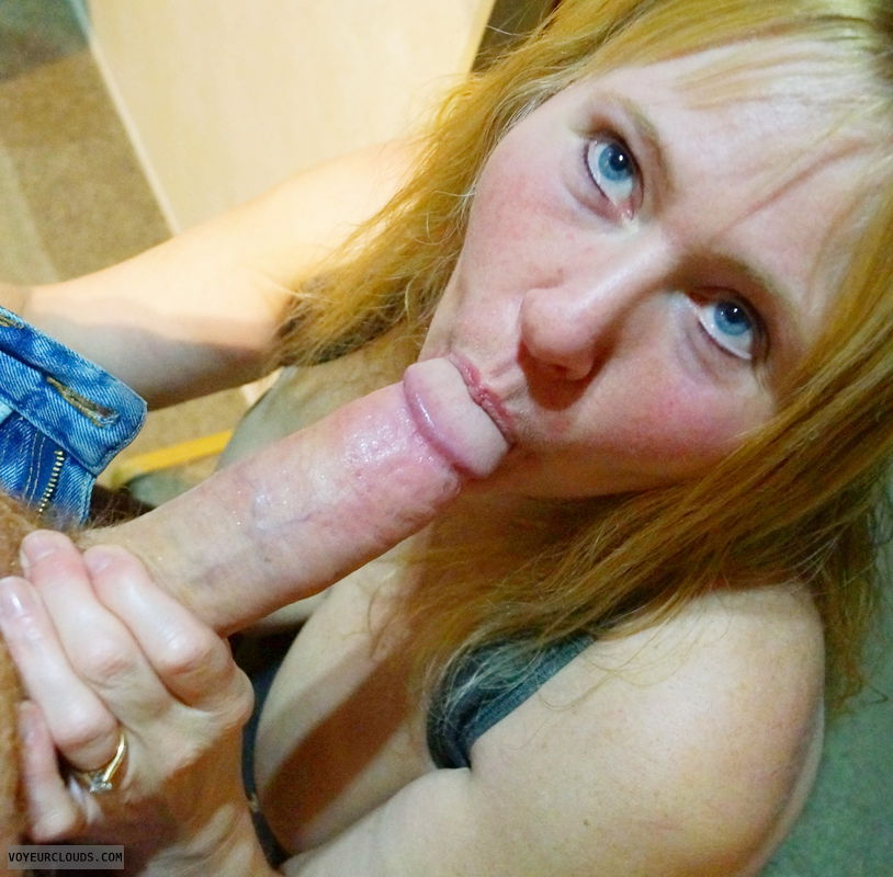 blow job, sucking cock, cock sucking, Blue eyes