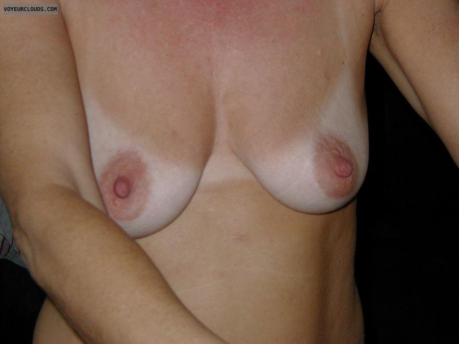 hard nipples, small tits, topless, tanlines