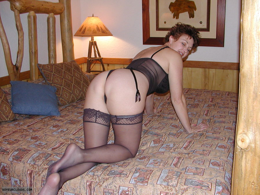 MILF ass, Sexy pose, Black stockings, Black lingerie