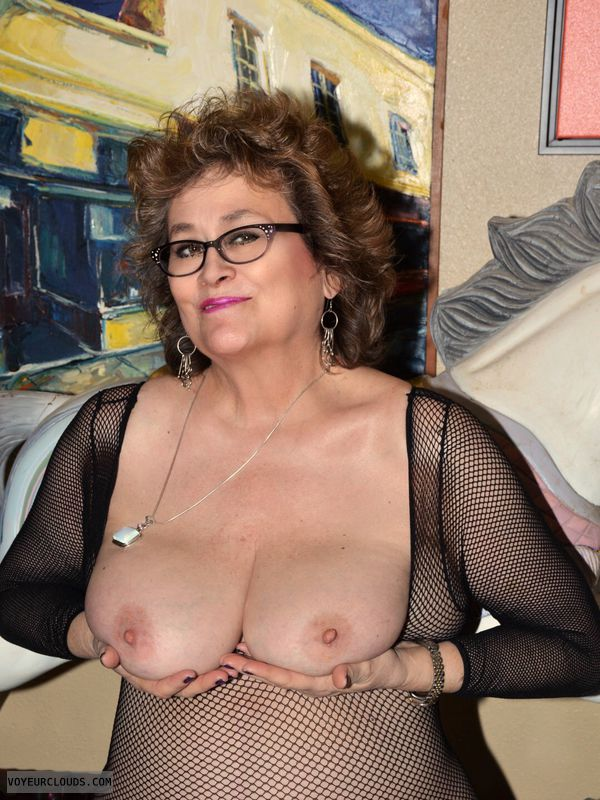 Big tits, sexy smile, milf, glasses, mesh, bodysuit