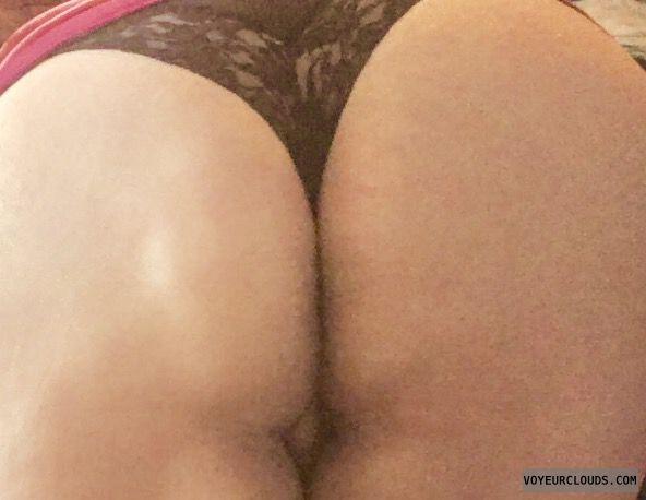 pussy peek, big ass, round ass, black thong, lingerie