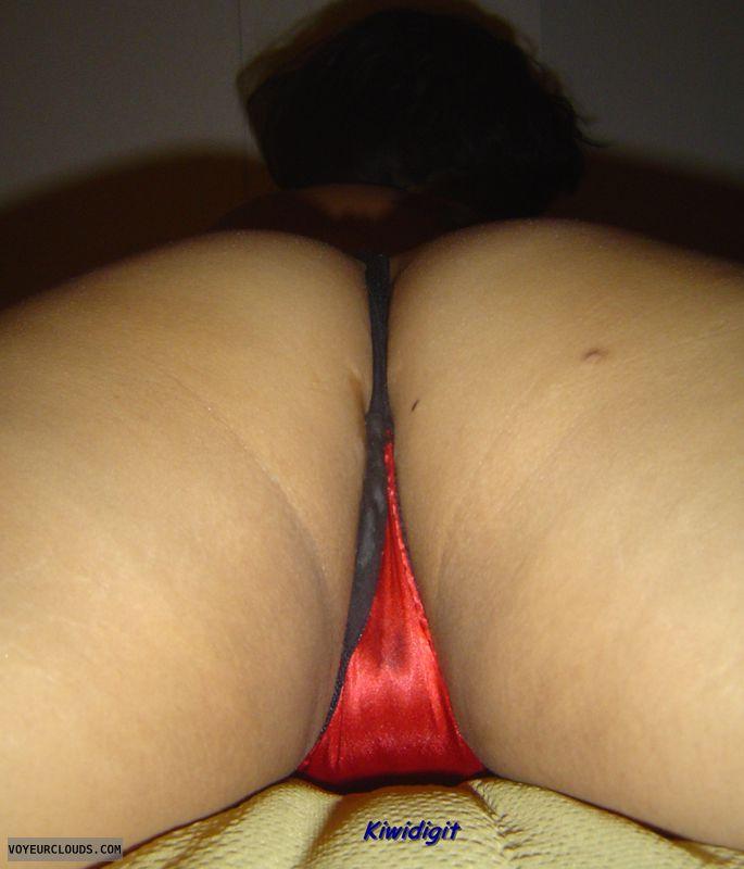 Legs Apart, Round Ass, Red Thong, Ass, Wifes Ass, Wife