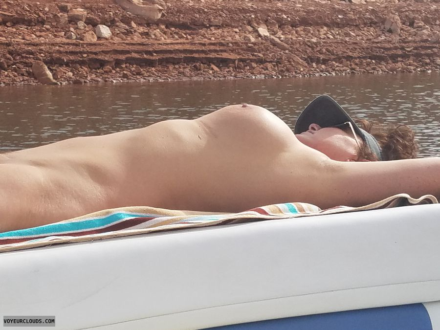 GILF tits, Naked boating, enhanced boobs