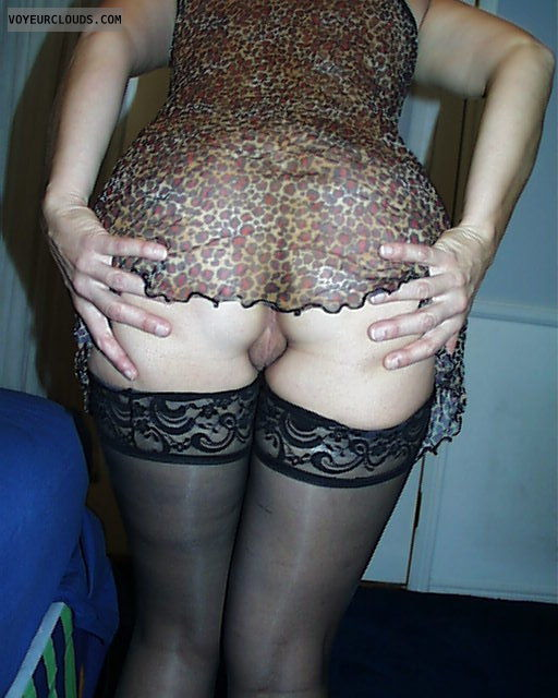 Milf ass, pussy peek, round ass, round butt, Spread cheeks