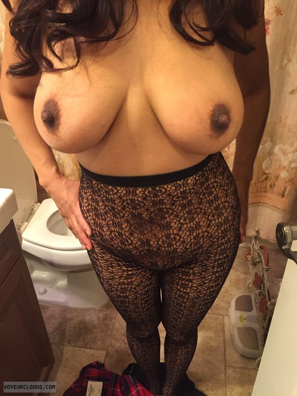 topless, hard nipples, big boobs, big tits, lace body