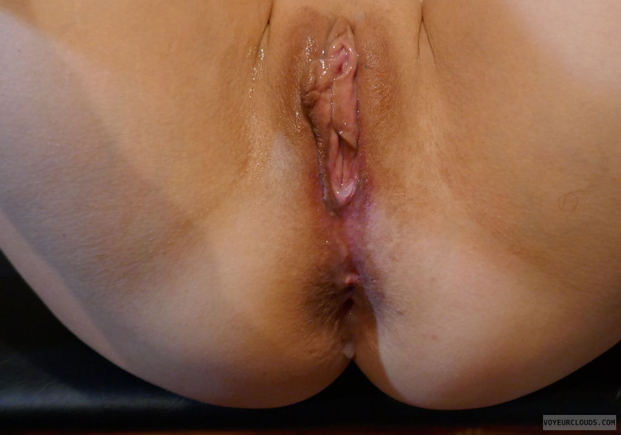 Cum on pussy, cum on ass, cream pie, shaved pussy