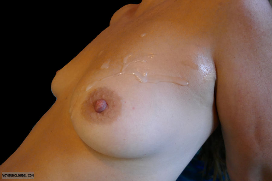 cum on boob, hard nipple, tanlines, small boobs