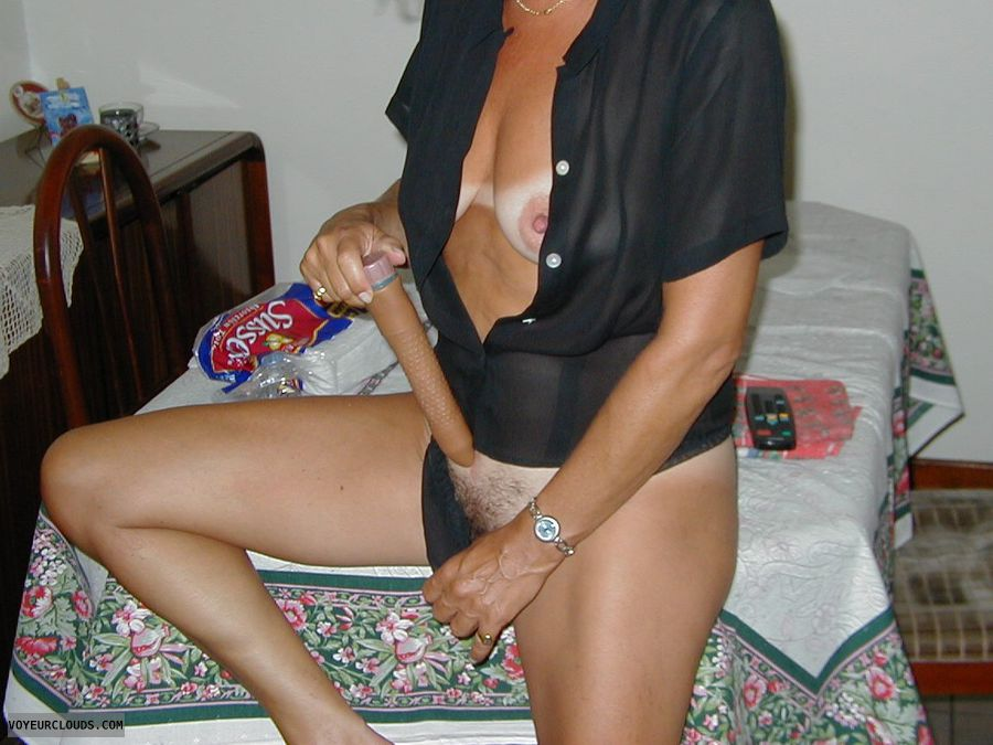 Wife, Tits, Toy, Legs, Pussy, Hair pussy