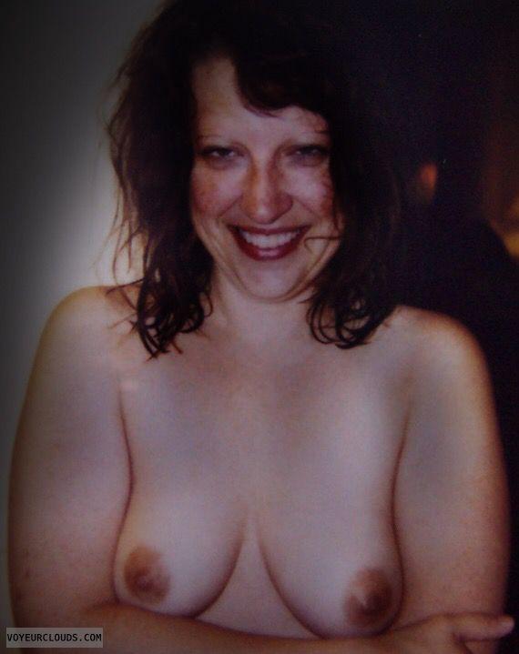 Small tits, small boobs, hand bra, smile