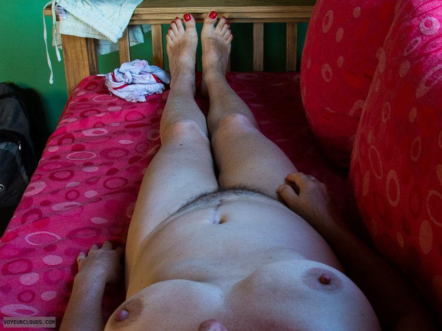 nude wife, medium tits, hairy pussy, legs, feet
