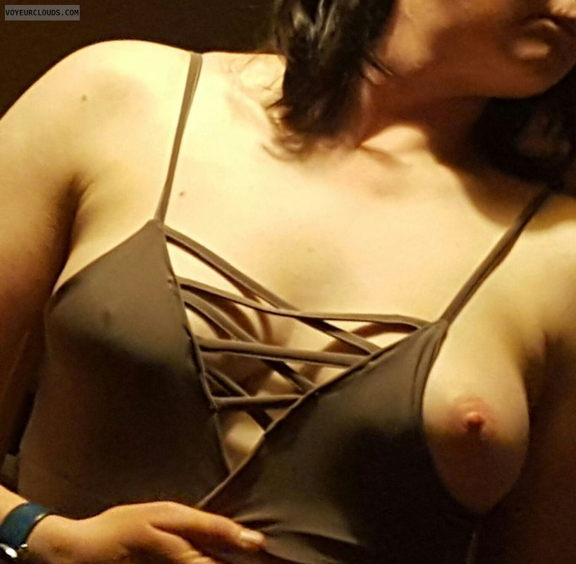 Milf tit, braless, hard nipples, tit out, teasing