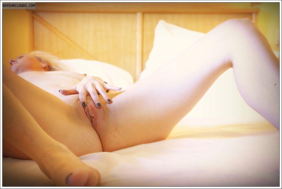 spread pussy, masturbating, milf, long legs, nude wife