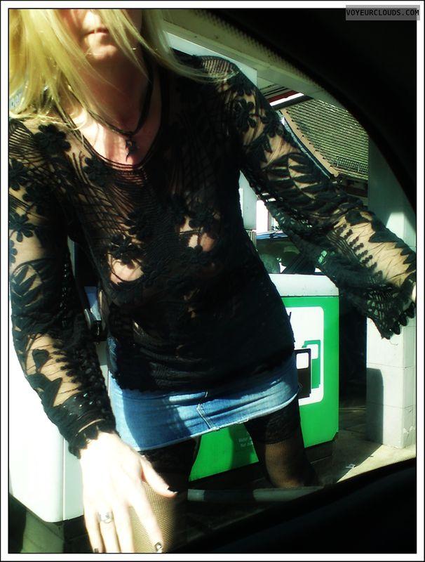 transparent, outdoor, stockings, tits, milf, public