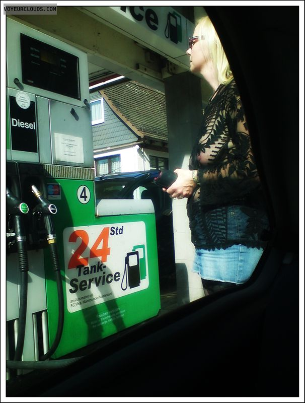 outdoor, public, transparent, gas station, milf, stockings