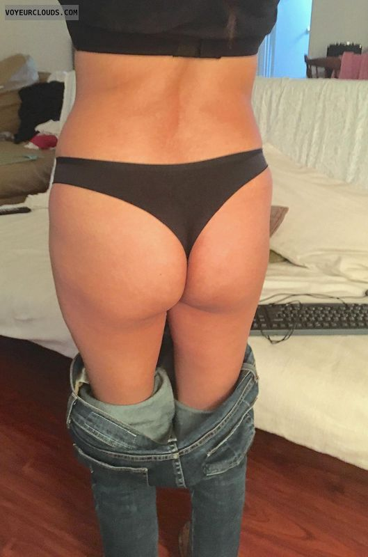 round ass, round butt, black thong, pants down