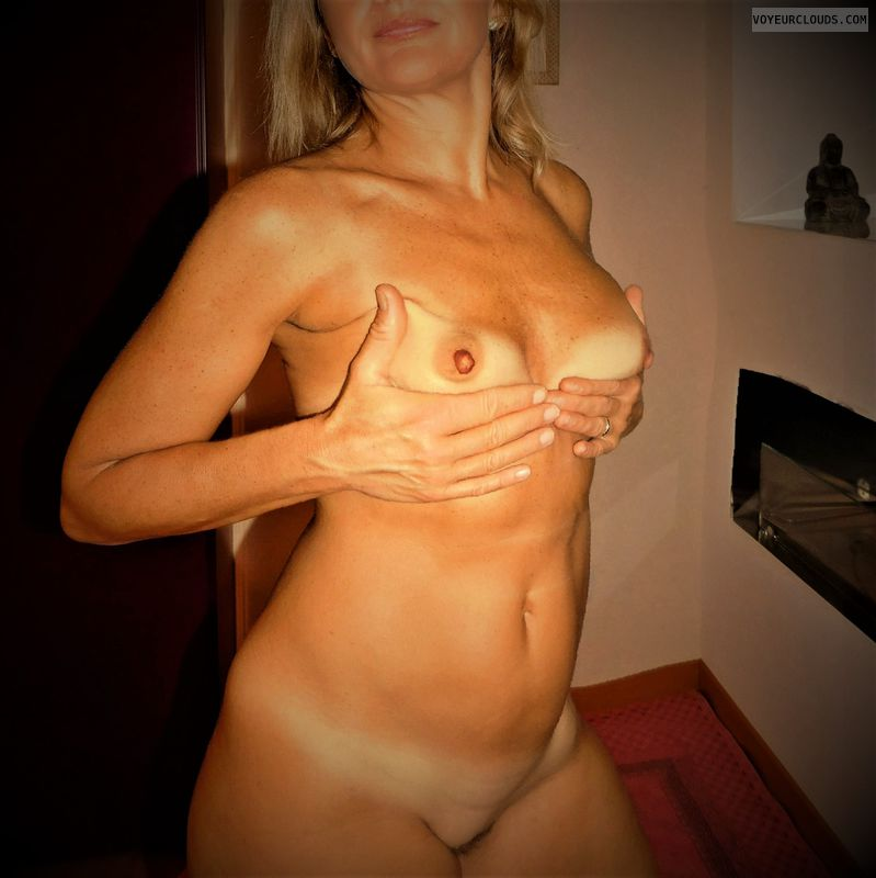 wife tits, hand bra, hard nipples, nude wife, small tits