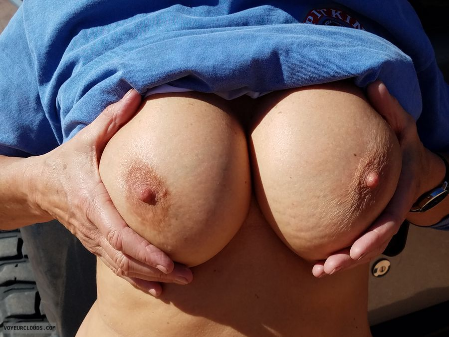 Braless in public, GILF boobs, Enhanced boobs, Perfect boobs