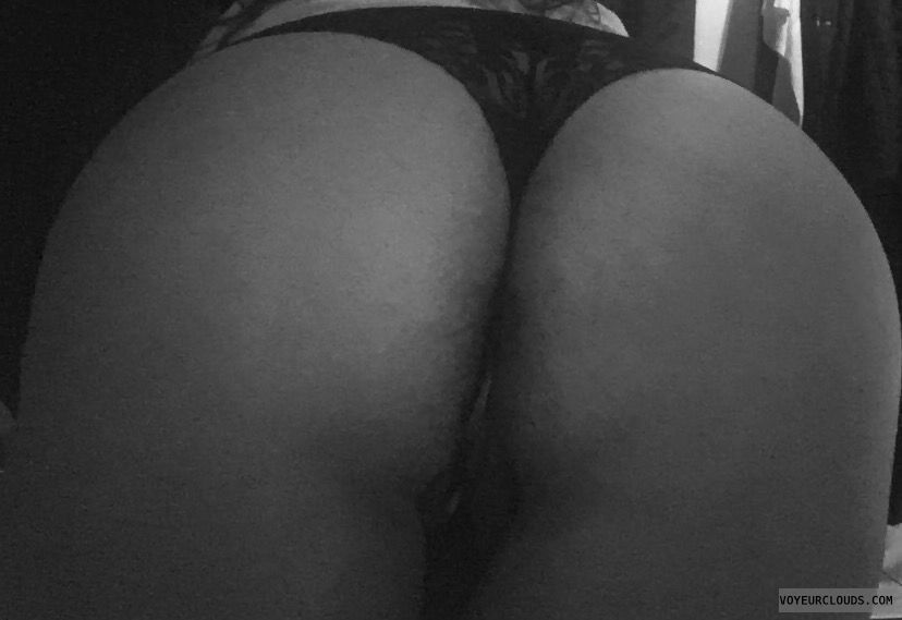 big ass, round ass, black & white, black thong, bending over