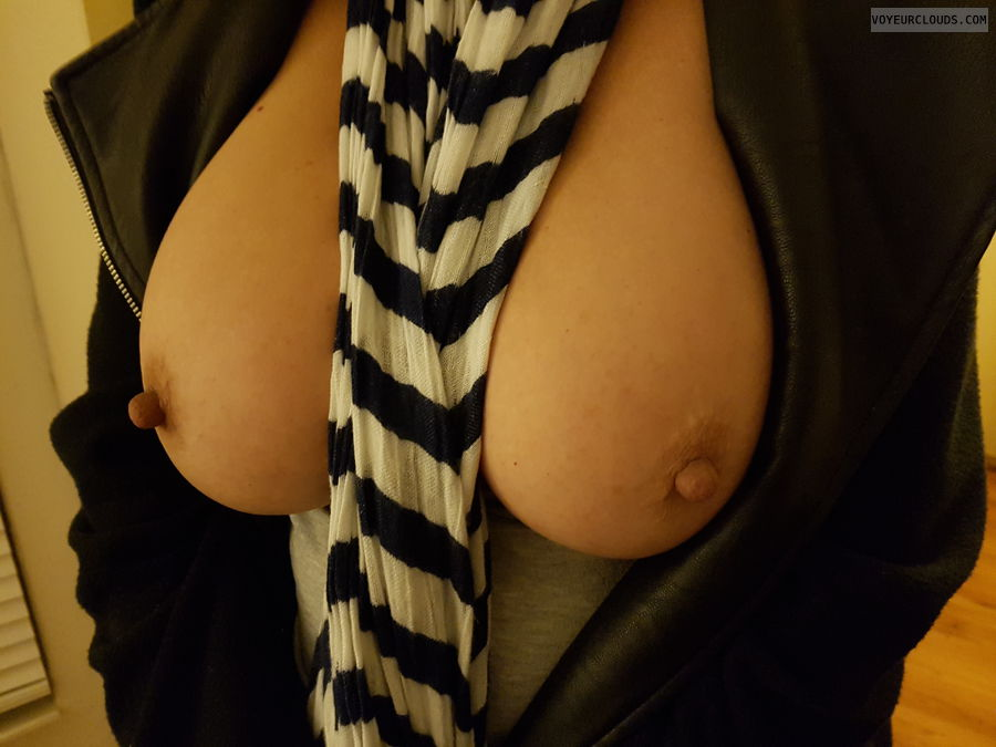 Boobs out, Big tits, Long nipples, Braless