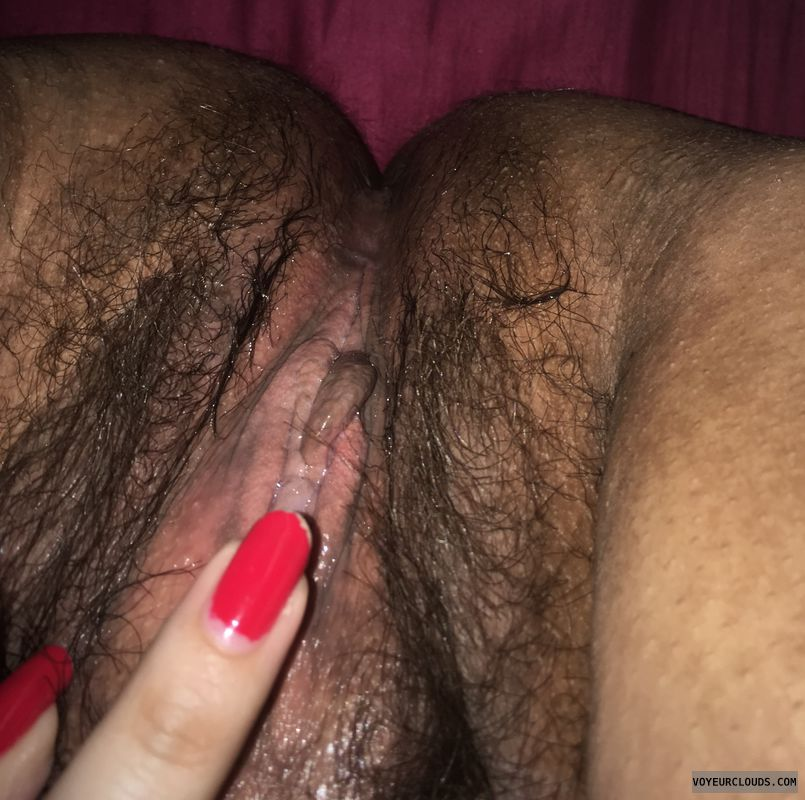 wet pussy, legs up, hairy pussy, red nails, pussy lips