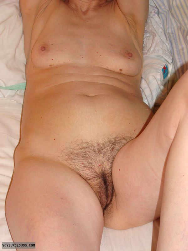 mature wife, little tits, sexy, bush, naked