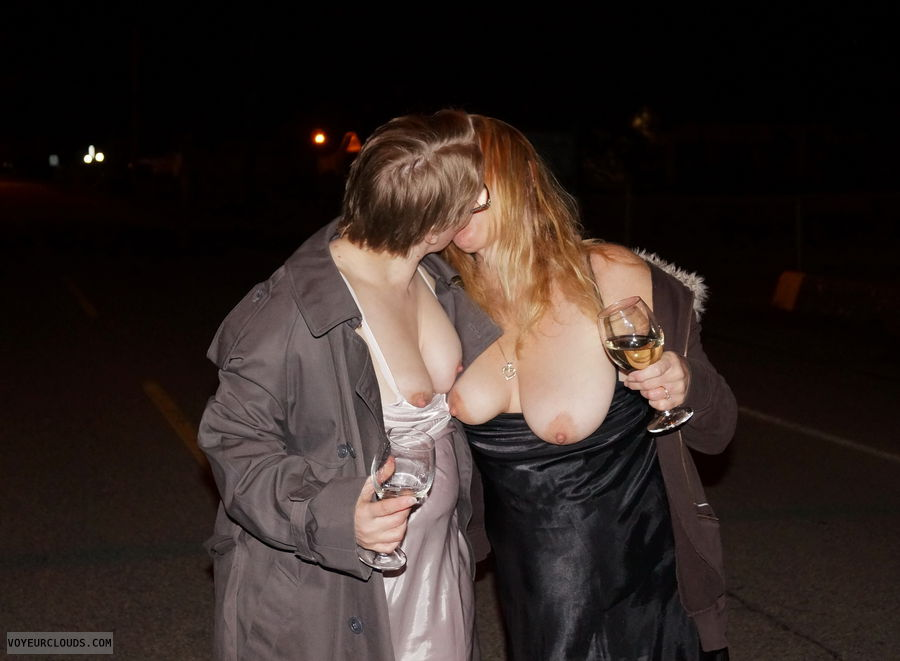 women kissing, tits out outside, nipples, tops down