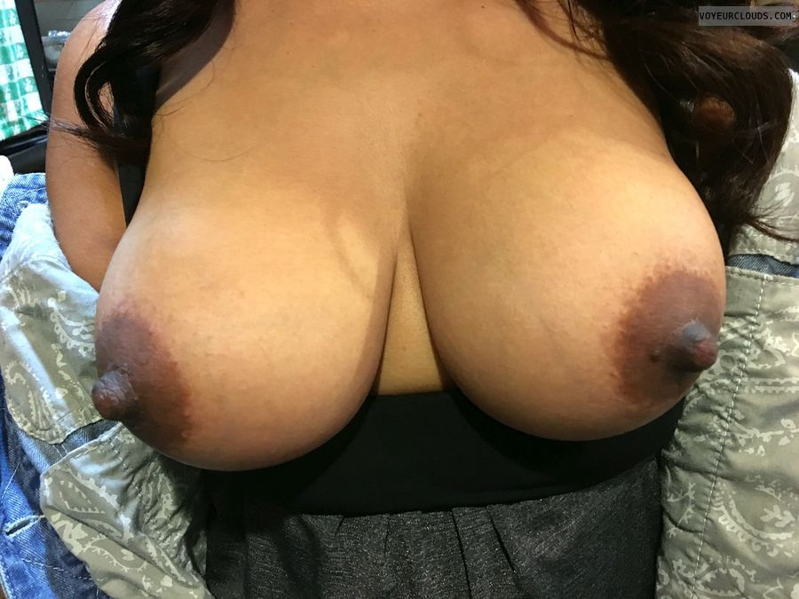 hard nipples, dark areolas, braless, tits out, big boobs