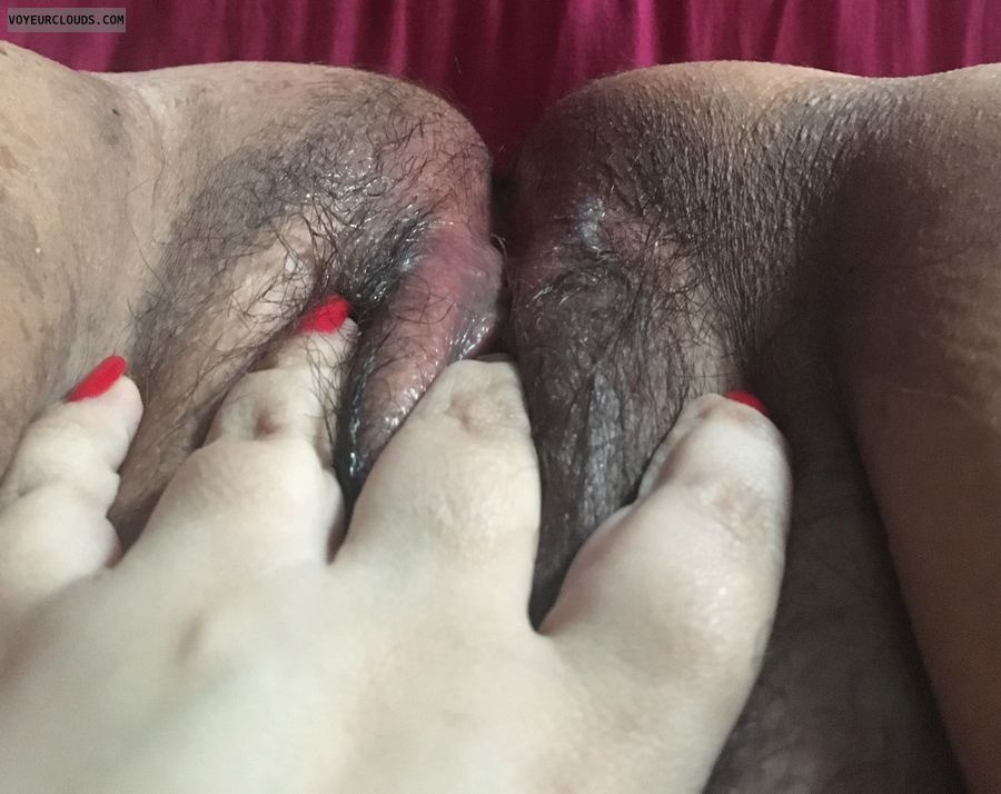 masturbating, fingering, hairy pussy, wet pussy, red nails