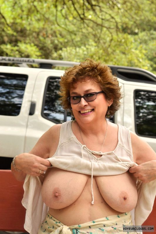 big tits, braless, outdoors, exhibitionist, glasses
