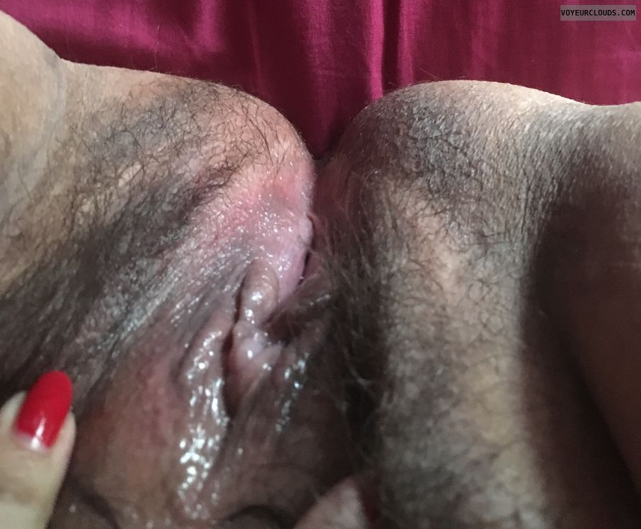 wet pussy, hairy pussy, open legs, clit, red nails