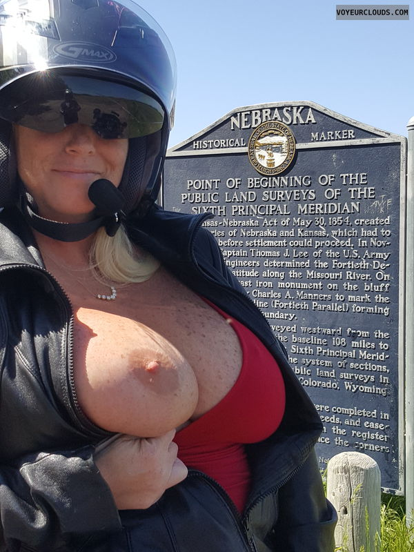 Milf, Motorcycle, Titty, Boobs, Big tits, Flash, Sexy wife