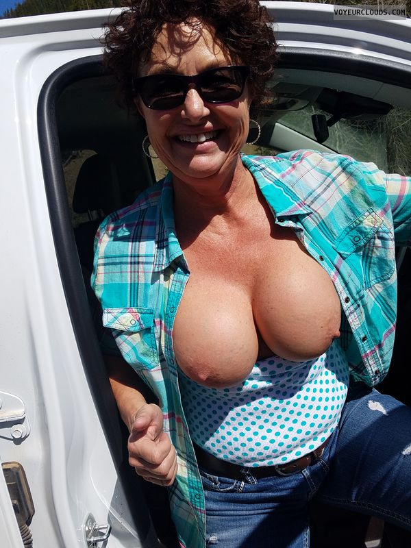 Braless in public, GILF boobs, Enhanced boobs