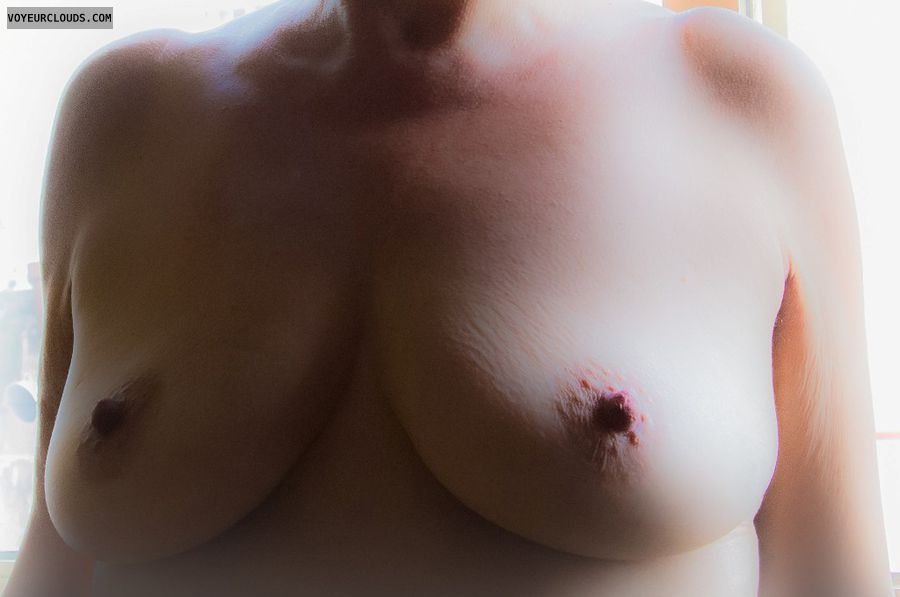 nude wife, medium tits, boobs, hard nipples, mature tits