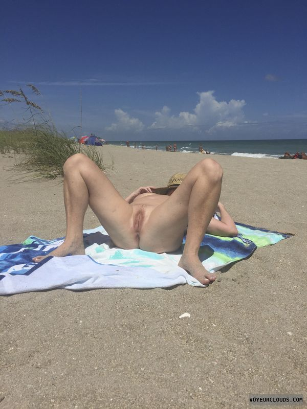 pussy, spread, pink, tits, public, beach, nude