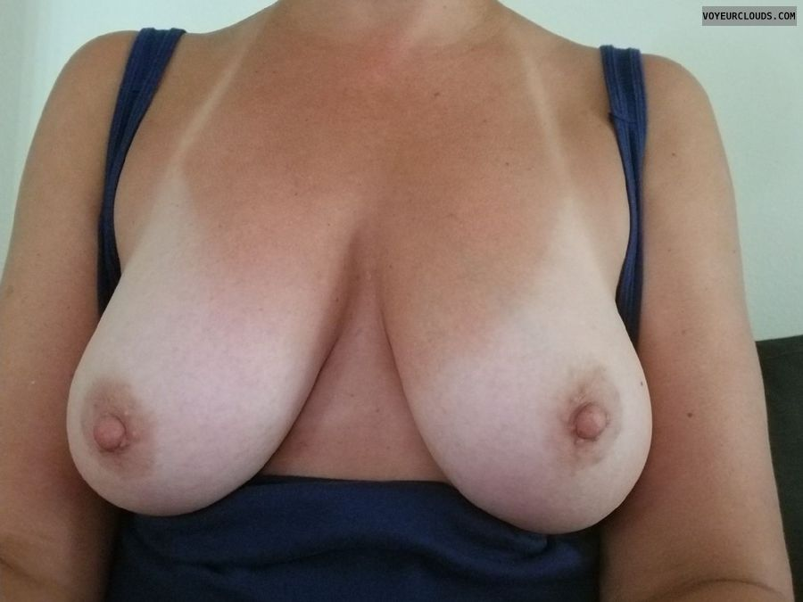 tits out, big boobs, big tits, tanlines, hard nipples