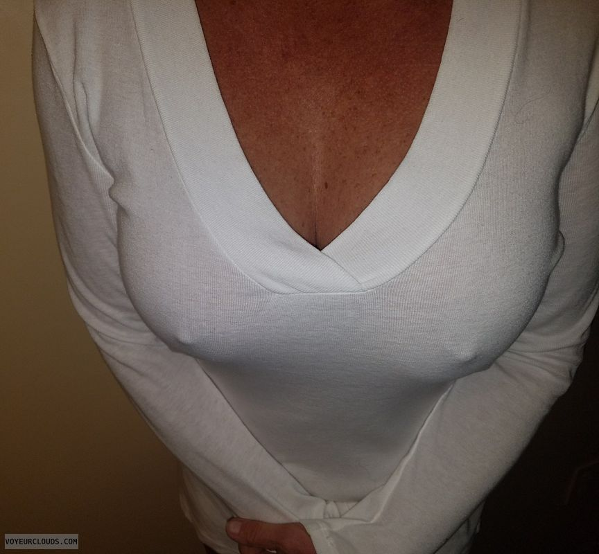 Hard nipples, Sheer white top, GILF nipples, Enhanced boobs