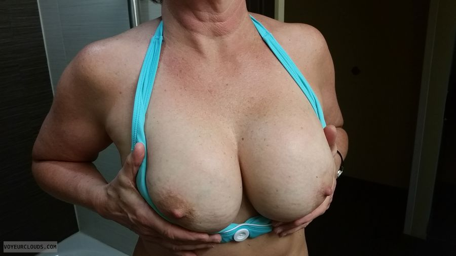 Hard nipples, GILF boobs, Handbra, Enhanced boobs
