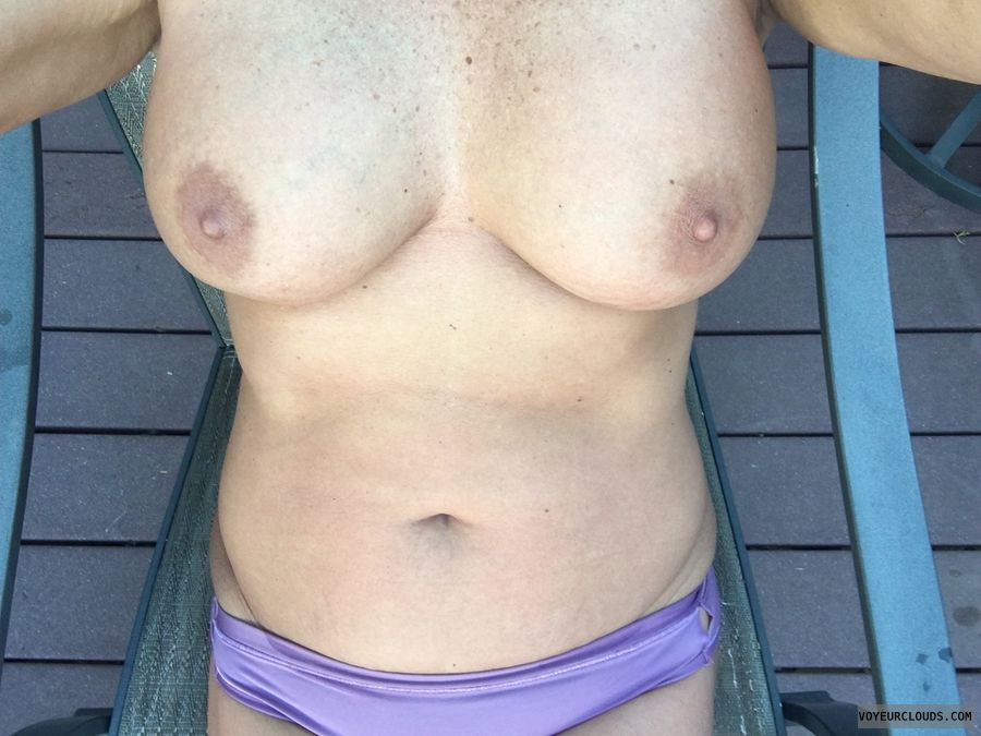 Hard nipples, GILF boobs, Selfie, Enhanced boobs