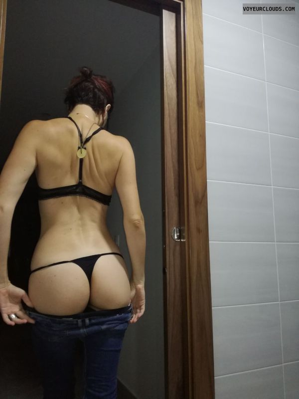 Thong, round ass, round butt, back view