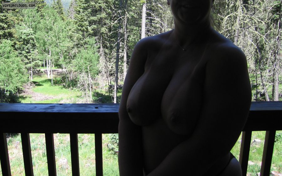 topless, topless outdoors, hard nipples, big boobs