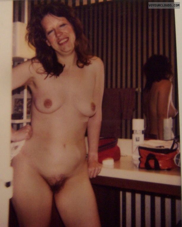 Hairy pussy, Small tits, Sexy smile, Full frontal