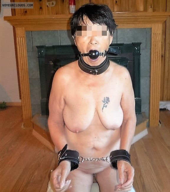 nude wife, tits, tattoo, mouthgag, bondage, on knees