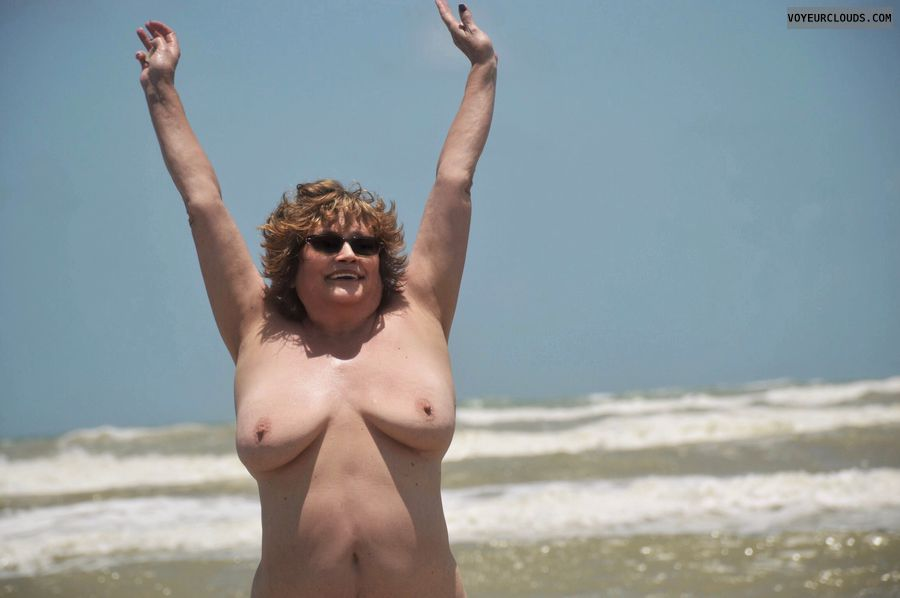 Big tits, beach, nude wife, sexy smile