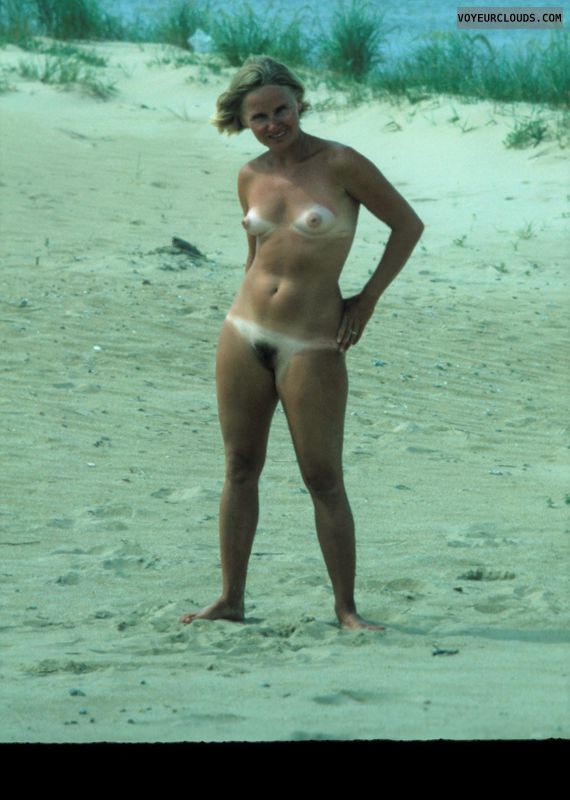 nude woman, naked outdoors, medium tits, tanlines