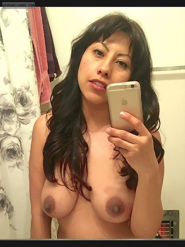 hard nipples, small tits, small boobs, selfie