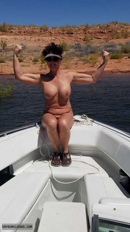 Naked boating, GILF boobs, Enhanced boobs, Sexy tan