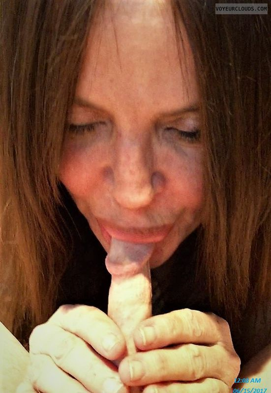 Blow job, sucking cock, MILF, Nude wife