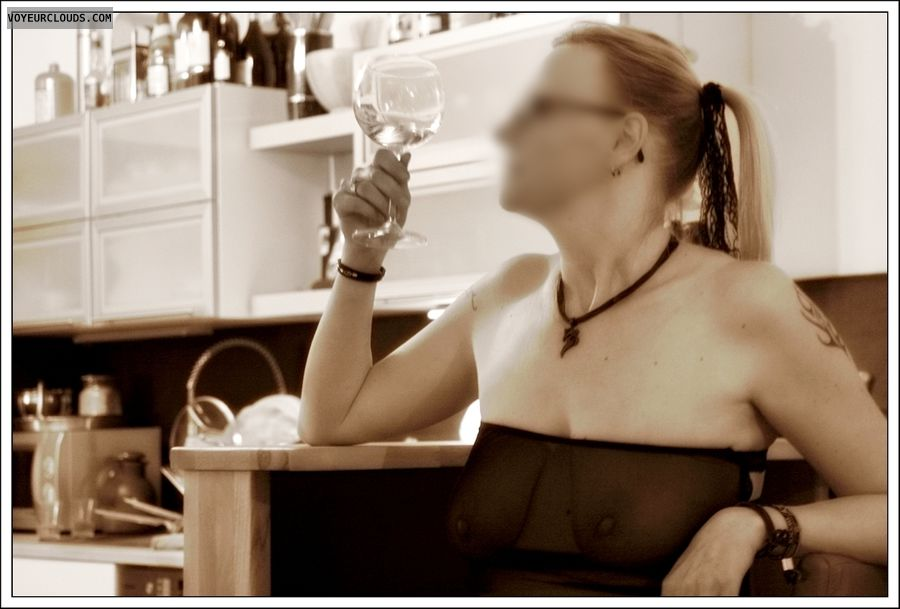 transparent dress, milf, drinking, wife, blonde