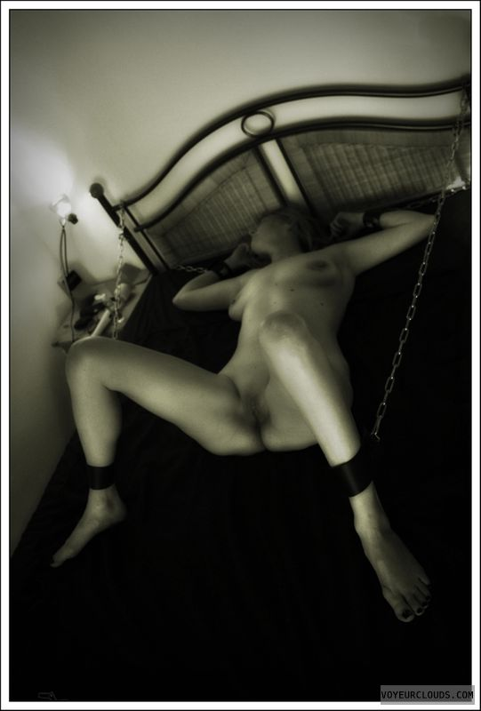 spread legs, nude wife, chains, bound, tied, shaved pussy